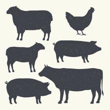 Farm Animals Vintage Set. Silh...