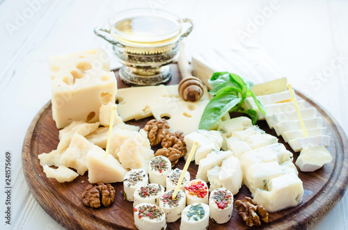 Plate with different kind of cheese
