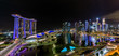 Wide Panorama of Singapore skyline nightscape