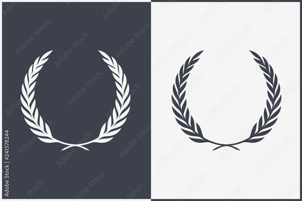 Fototapeta Heraldic Wreath Icon. Honor or Quality or Reward Symbol. Vector Silhouette