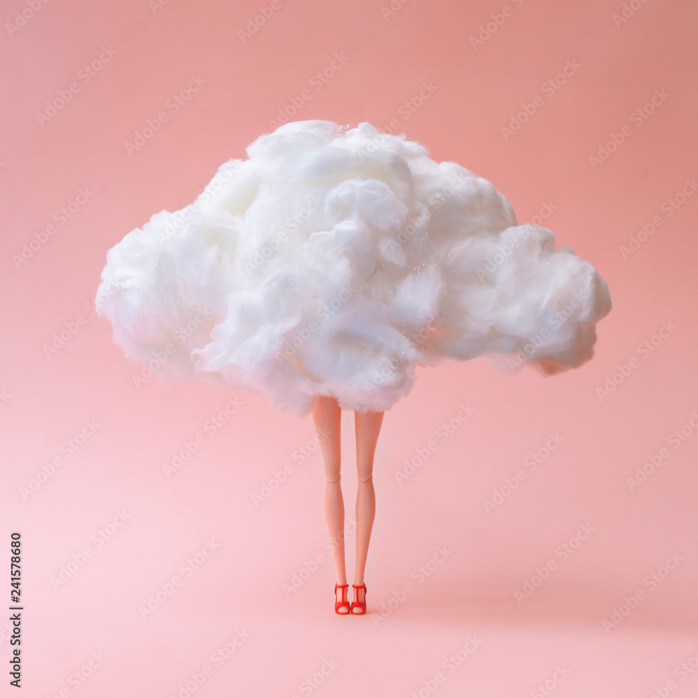 Fototapety, obrazy: Girl doll against pastel coral color background. Head in the clouds concept.
