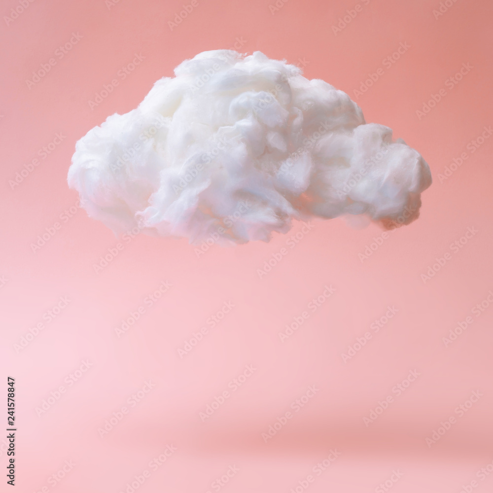 Fototapety, obrazy: White cloud against pastel coral color background. Weather minimal concept.