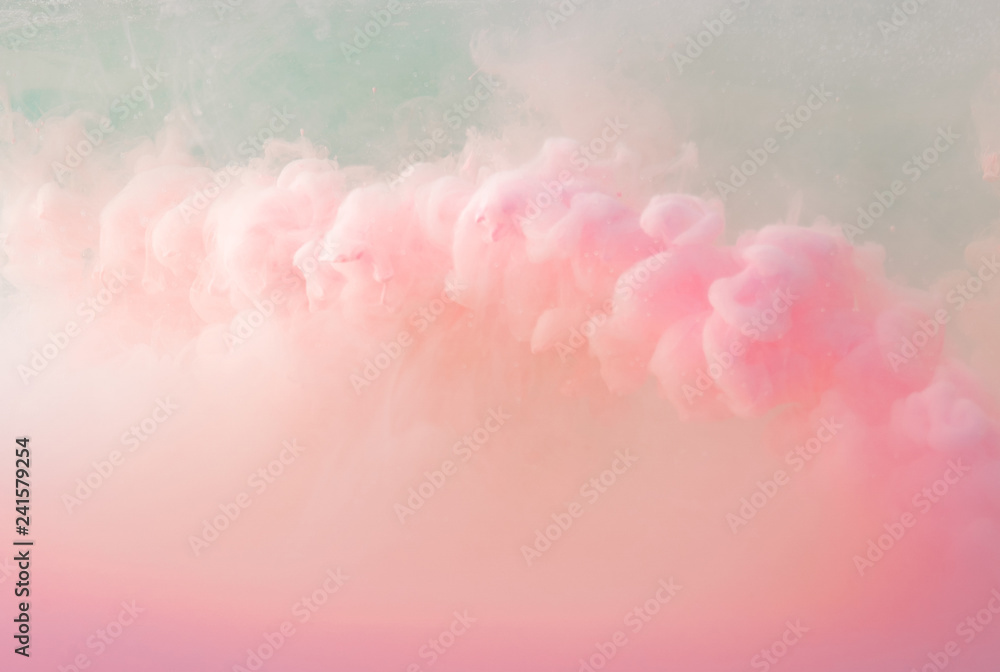 Fototapety, obrazy: Abstract pastel pink color paint with pastel blue background.. Fluid composition with copy space. Minimal natural luxury.