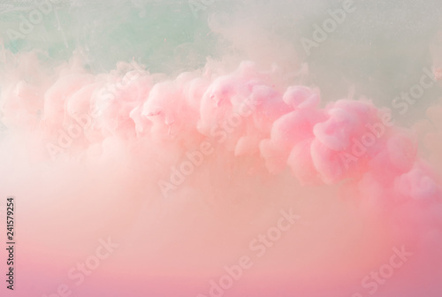 Abstract pastel pink color paint with pastel blue background.. Fluid composition with copy space. Minimal natural luxury. - fototapety na wymiar