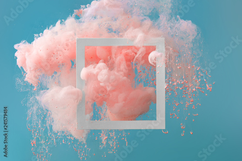Fotografía Abstract pastel pink color paint with pastel blue background