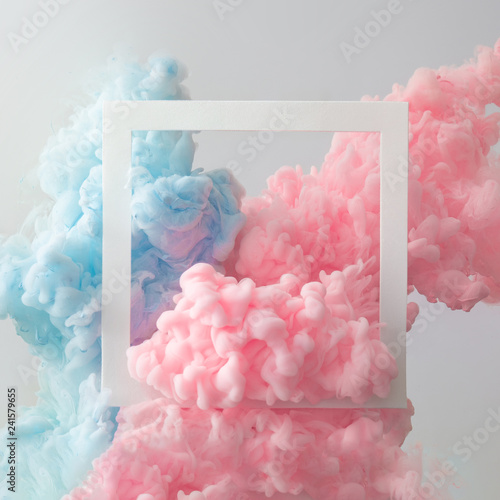 Abstract pastel pink and blue color paint with pastel gray background. Fluid composition with copy space. Minimal natural luxury. - fototapety na wymiar