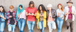 canvas print picture - Group of millennial friends watching social story on smart mobile phones