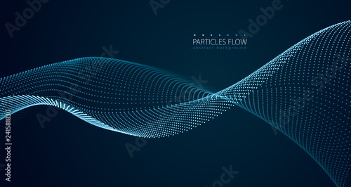 Poster de jardin Abstract wave Dynamic particles sound wave flowing over dark. Blurred lights vector abstract background. Beautiful wave shaped array of glowing dots.