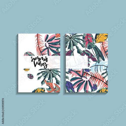 Tropical palm leaves card design.