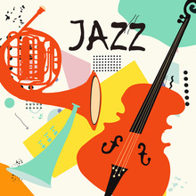Jazz Music Festival Poster With Trumpet, French Horn And Violoncello Flat Vector Illustration. Colorful Music Background With Music Instruments, Live Concert Events, Party Flyer, Brochure, Banner