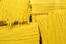 Yellow Italian Long Spaghetti. Raw Spaghetti Background