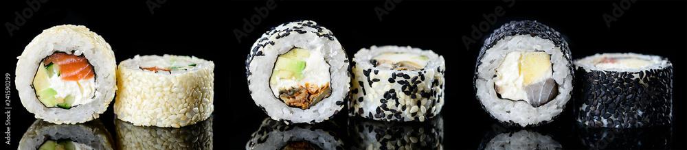 Obraz sushi roll with sesame japanese food, Menu of the Japanese restaurant. Set fototapeta, plakat