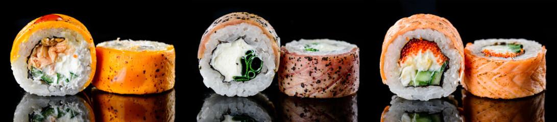 Fototapeta Nowoczesny baked hot sushi rolls on a dark background. Hot fried Sushi Roll Sushi menu