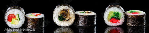 sushi rolls on a dark background classic