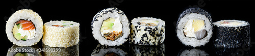 Fototapeta sushi roll with sesame japanese food, Menu of the Japanese restaurant. Set obraz
