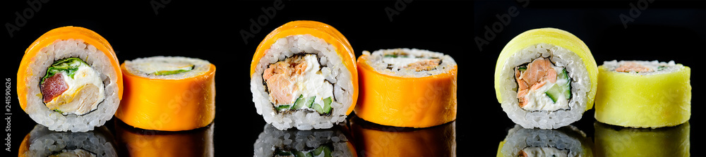 Fototapety, obrazy: Sushi pieces Japanese food, Sushi menu