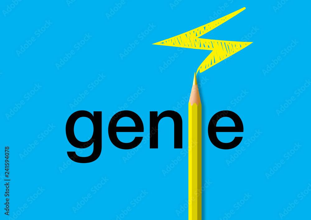 Concept du génie avec pour symbole un crayon de couleur dessinant un éclair