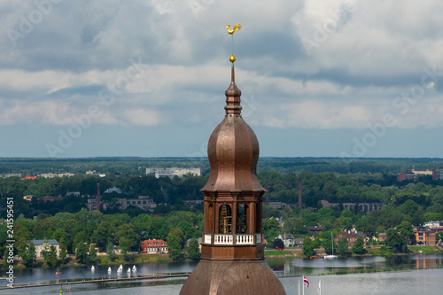 Fotografie, Obraz  Aerial view of Daugava River and Riga Dome Cathedral Tower from Saint Peter's Church