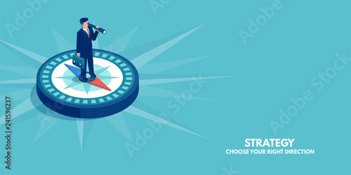 Fotografiet  Vector of a businessman standing on compass showing direction