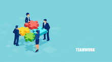 Isometric Vector Of Business People Solving A Problem In Team Isolated On Blue Background.