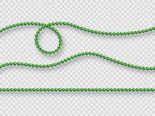 Realistic Green Beads Isolated On Transparent Background. Decorative Elements For Holiday Design, Mardi Gras Carnival. Vector Illustration.