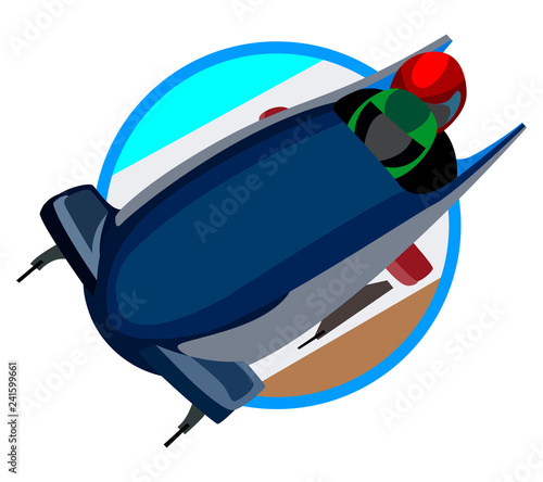 icon and image of bobsleigh, winter sports on white background Fototapet