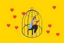 He Did Not Pay Attention To Real Love While Searching For Online Dating. Conceptual Illustration Shows A Person Locked In A Cage Looking At The Mobile. Risks Of Love Online.