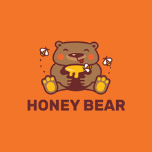 Honey Bear. Logo Template.