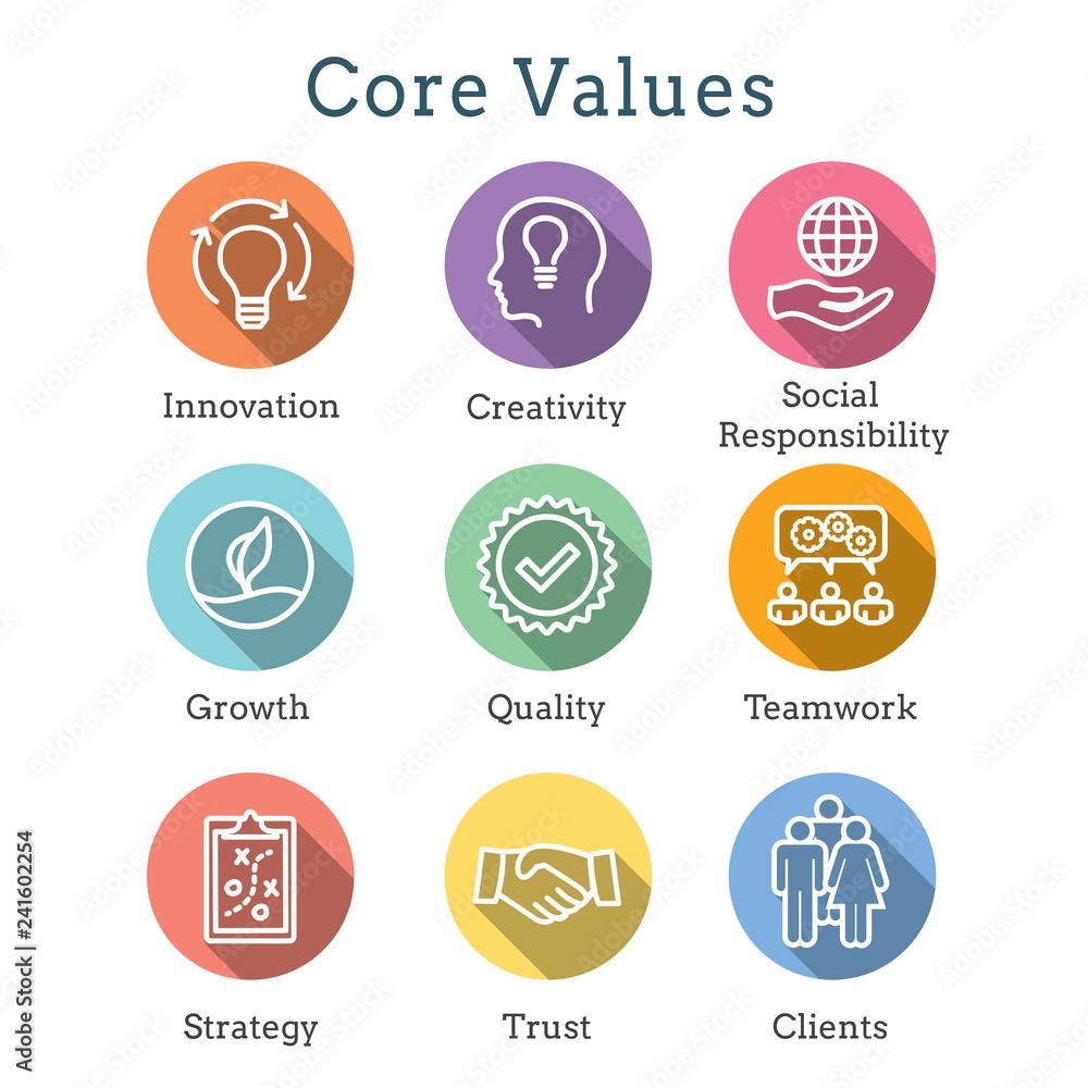 Fototapeta Core Values Outline / Line Icon Conveying Integrity - Purpose