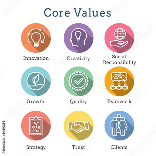 Fototapeta Core Values Outline / Line Icon Conveying Integrity - Purpose obraz