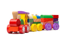 Colorful Wooden Train Toy For Kids Isolated On White