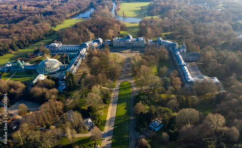 Photo Stands Brussels Beautiful Aerial View of Castle of Laeken palace, official royal family residence, around Royal Domain of Laeken park, feat. Orangery Greenhouse in Brussels Belgium