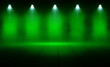 canvas print picture - Background of an empty room, reflection of green neon light on a concrete floor, puffs of smoke