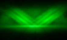 Background Of An Empty Room, Reflection Of Green Neon Light On A Concrete Floor, Puffs Of Smoke
