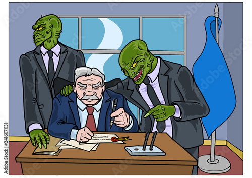 Two reptilians trying to convince a politician to sign a important document Fototapeta