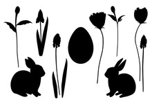 Hand Drawn Spring Easter Bunnies, Egg And Flowers Silhouettes, Small Spring, Easter Elements Set White Isolated