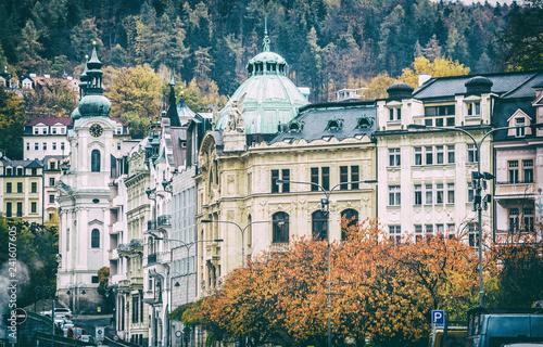 Fotografie, Obraz  Karlovy Vary with Church of Saint Mary Magdalene, Czech
