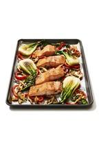 Miso Glazed Salmon And Bok Choy Isolated On White Background