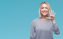Young Blonde Woman Over Isolated Background Showing And Pointing Up With Fingers Number Five While Smiling Confident And Happy.