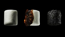 Roasted Marshmallow On Black Background
