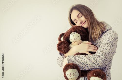 Fototapeta  Teen girl with teddy bear