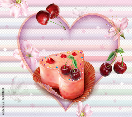 Pink Cupcake with cherry in heart shape Wallpaper Mural