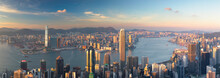 Skyline Of Hong Kong Island An...