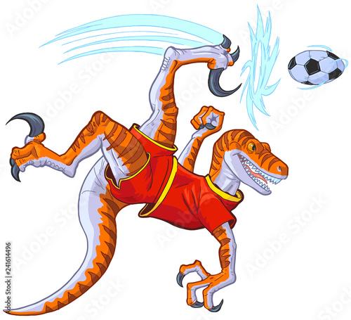 Poster Chambre d enfant Velociraptor Bicycle Kicking Soccer Ball Vector Illustration