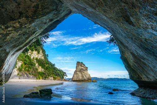 Aluminium Prints Cathedral Cove view from the cave at cathedral cove,coromandel,new zealand 41