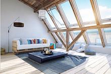 Modern Attic Interior Design. ...
