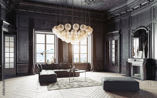Obraz modern luxury black interior. - fototapety do salonu