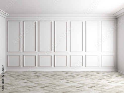 Obraz na plátně  3d render of white interior with panels on wall 8k