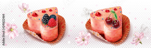 Fotografie, Obraz Heart shaped cupcake decorated with berries