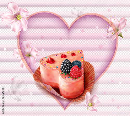 Fotografie, Obraz  Pink Cupcake with berries in heart shape